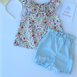 Size 2 - Baby blue high waisted bloomers bloomies nappy cover diaper cover