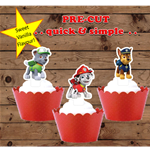 Paw Patrol EDIBLE wafer cupcake toppers PRE-CUT