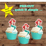 Litlle Mermaid Ariel mermaid tail EDIBLE wafer cupcake toppers PRE-CUT