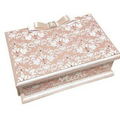 Softly Pink & White Damask Keepsake Trinket Treasure Jewellery Memory Wooden Box