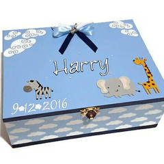 Safari Animals Time Capsule Keepsake Trinket Treasure Memory Wooden Baby Box