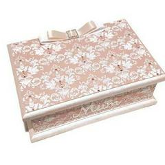 Softly Pink & White Damask Keepsake Trinket Treasure Jewellery Memory Wooden Box