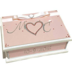 Wedding Wishes Keepsake Trinket Bridal Memory Wooden Box Pink, White & Silver