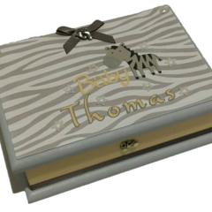 Baby Keepsake Trinket Treasure Memory Wooden Box - Zebra Theme