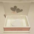 Wedding Wishes Keepsake Trinket Bridal Memory Wooden Box Pink, White & Silver