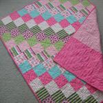 Baby Girl Quilt - Patchwork - Pink / Green / Aqua