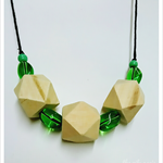 Green Three 'Hexi' Wooden Oil Diffuser Necklace (Long)