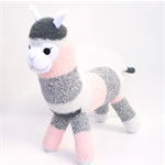'Arabella' the Sock Alpaca - grey and peach striped - *READY TO POST*