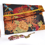 Burgundy brown purse, floral clutch, travel wallet