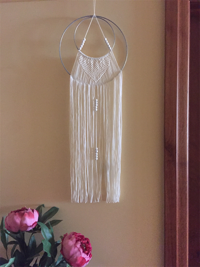 Macrame Wool Wall Hanging White On Double Silver Ring
