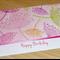 Female Happy Birthday card -  pink flower print