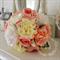 garden rose, peach pink rose, white peony, cream dahlia, white rose