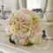 Bouquet of blushing bride, pincushion, wax flower, rose.