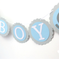 Baby Boy Elephant Party Banner in Blue & Grey. Baby shower, first birthday.