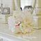 Bridesmaid boquet of white, blush pink, peony, peony buds, ranunculus.