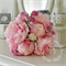 Bridal bouquet of light pink peony and blush cabbage rose with white sweet pea