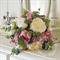 Bouquet of peony, peony buds, wax flower, snow ball, lisianthus, silver dollar.
