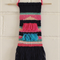 Weaved Wall Hanging, Blue, Pink, Green, Peach and silver with fringing