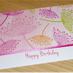 Female Happy Birthday card -  pink flower print