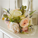 Bouquet of queen annes lace, cabbage roses, astilbe, lavender, eucalyptus leaves