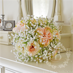 Bouquet of peach, soft pink, cream, baby's breath, old english roses, rose bloom
