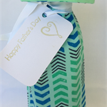 Wine Bottle Gift Bag / Chevrons on Mint