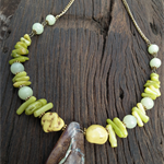 Passage of Prehnite.  SALE Australian Opal Coral Howlite Prehnite Necklace