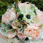 Bouquet of anemone, calla lily, apple blossom, peony, wild berries, lisianthus,