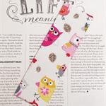 Fabric Bookmark, Owls