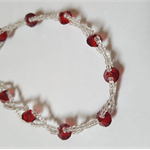 Red & clear beaded bracelet 