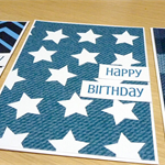 Set 3 Male Happy Birthday cards - blue - FREE POST