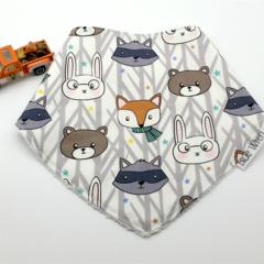 Dribble Bandanna Baby Bib Woodland Animals on Cotton Fabric Soft Bamboo Toweling