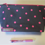 BIG zip purse - pink dots on grey