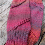 spiral legwarmers - hand knitted in pure wool, size L.