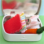 Matchbox Bunny in Bed - Tiny Felt Rabbit with carrot