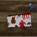 Zipper pouch/pencil case - woodland animal print