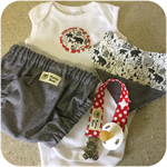Unisex NAPPY COVER SET - 'Running Bear ',Nappy Pants, Bibs, Dummy Clip