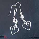 Hearts & Swirls Earrings, bridal heart drop earrings, by BijouterieOz