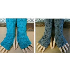 Fingerless Gloves Dark Grey Wrist Warmers Cabled Arm Warmer Womens Chunky Glove