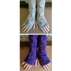 Fingerless Gloves, Purple Wrist Warmers, Cabled Arm Warmers, Womens Winter