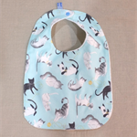 baby bib - blue cats / organic cotton and bamboo towelling