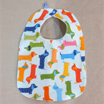 baby bib - sausage dogs dachshunds / organic cotton and hemp fleece
