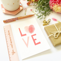 Happy Valentine's, Wedding, Love Card - LOVE text with fingerprints - HVD010