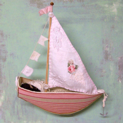 SAILING BOAT, SHIP from Paper and Fabric, Vintage style, Pink, Dormouse