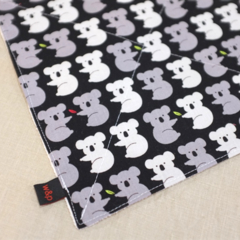 wash or burp cloth - grey koalas / organic cotton hemp fleece / baby toddler