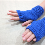 Toddler fingerless gloves - royal cobalt blue / soft Australian wool / 1-3 years