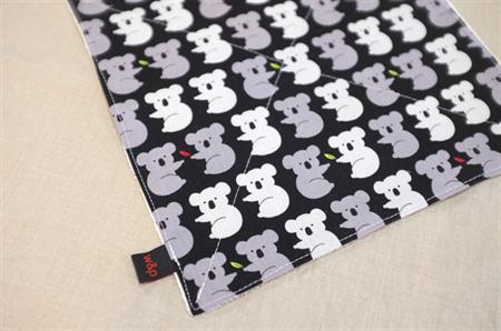 wash or burp cloth - grey koalas / organic cotton hemp fleece / baby toddler