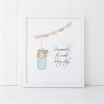 Wall Art Print - 8 X 10 - Mason Jar with Flowers - Quote - Smile - PRI025