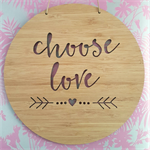 Wooden Bamboo Wall Hanging / wedding - Choose Love