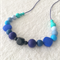 Silicone teething necklace: Indigo and baby blues